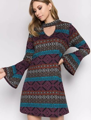 Dark Aztec Print Keyhole Dress