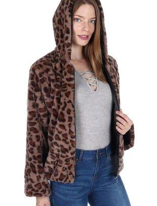 Soft Hooded Leopard Jacket