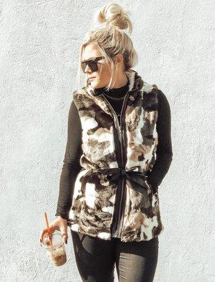 Black/Brown Fur Animal Print Vest