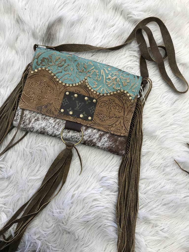 Keep It Gypsy Maxine Brown Cowhide w/ TQ/Tan Tooled Flip