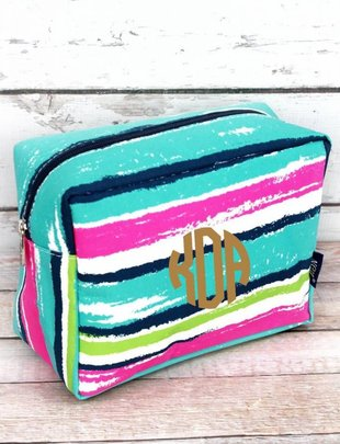 CARIBBEAN STRIPE COSMETIC CASE
