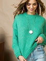 Emerald Crew Neck Dolman Sleeve Sweater