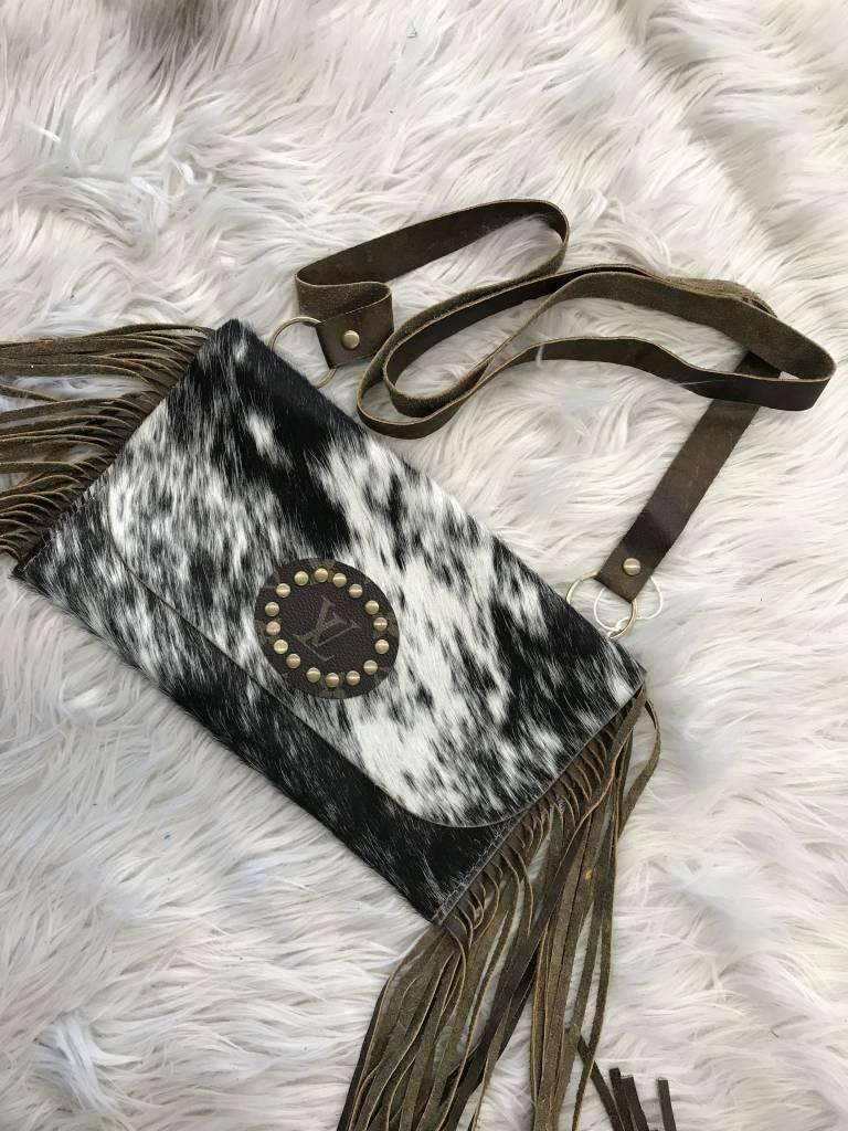 Keep It Gypsy Black/White Fringe LV Circle Patch Katie Bag