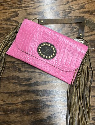 Keep It Gypsy Pink Croc LV Circle Katie Crossbody