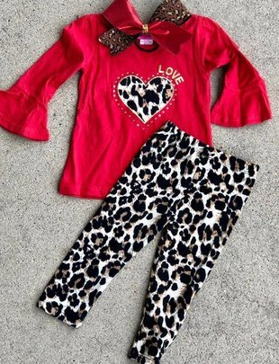 Girls Leopard Heart Top & Leggings Set