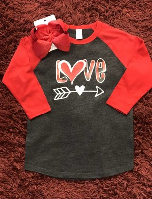Back Road Beauties Kids Buffalo Plaid in Love Tee
