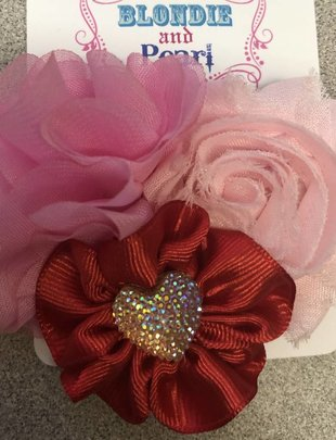 Blondie and Pearl Flower Red/Pink Heart Bow