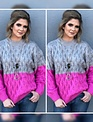 Grey/Fuschia Colorblock Sweater