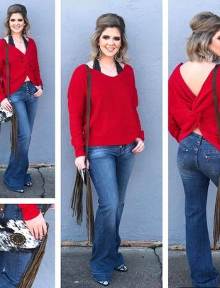 ATwist Front or Back Red Sweater