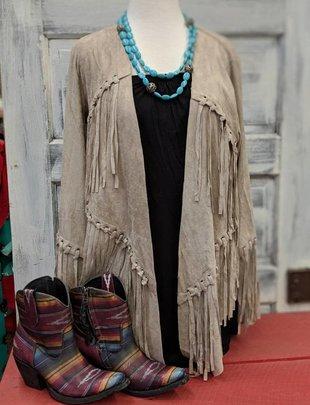Taupe Long Sleeve Fringe Jacket
