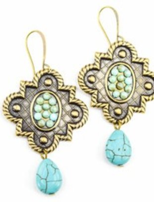 Pink Panache BRONZE mission window with TURQUOISE cabochons & TURQUOISE  teardrop  on BRONZE french wire earring