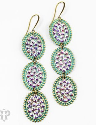 Pink Panache TURQUOISE triple mini ovals with AB crystals on BRONZE leverback earring