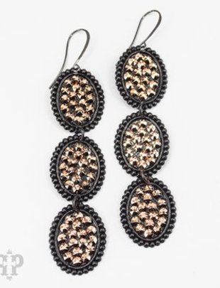 Pink Panache BLACK triple mini ovals with ROSE GOLD crystals on BLACK leverback earring