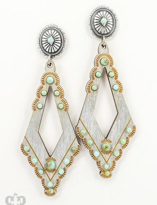 Pink Panache SILVER open diamond with TURQUOISE cabochons on SILVER mini scallop concho post earring