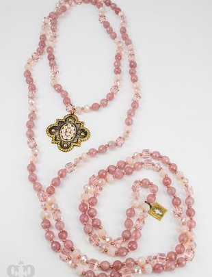 "Pink Panache BRONZE mission window with POWDER ROSE AB on 62"" ROSE BLUSH variety necklace"