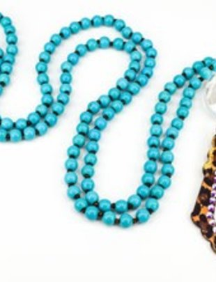 "Pink Panache LEOPARD open diamond with AB crystals on 36"" TURQUOISE knotted bead necklace"