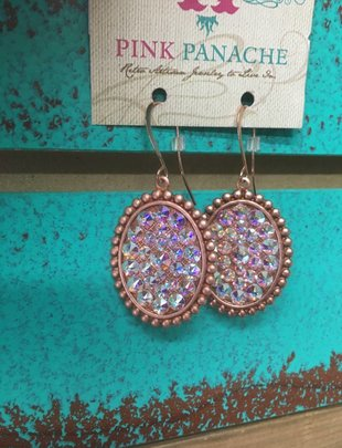Pink Panache Rose Gold and AB small oval on bronze french wire earring