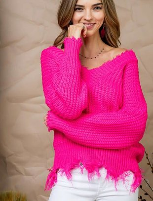 Frayed V Neck Hot Pink Sweater