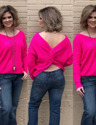 ATwist Front or Back Hot Pink Sweater