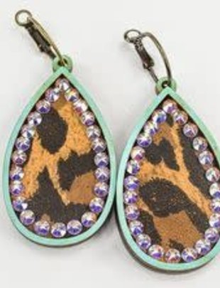 Pink Panache TURQUOISE wood teardrop with LEOPARD inlay & AB crystals on BRONZE mini hoops