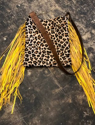 Keep It Gypsy Leopard/Red Tooled, Mustard Fringe Crossbody Bag