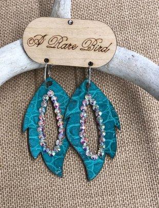 Turquoise Gator Leather AB Swardowski Earring