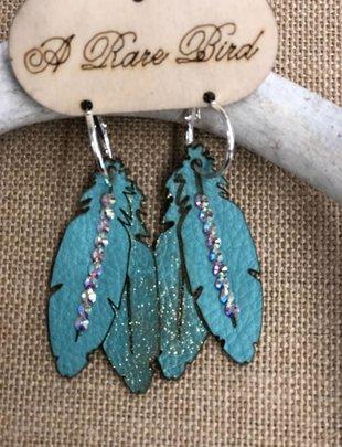 Small Turquoise Feather AB Swardowski Earring