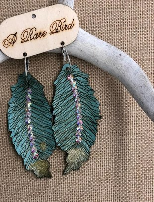 Large Turquoise Feather AB Swardowski Earring