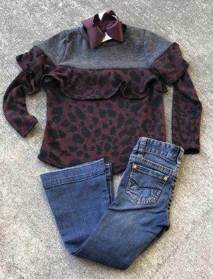 Girls Wine Leopard Ruffle Top