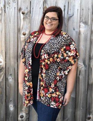 Ladies Plus Size Leopard Red Floral Kimono