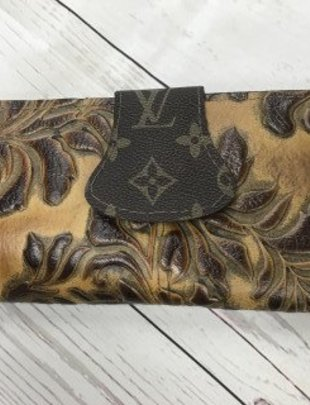 Keep It Gypsy Mustard Tooled LV Flap Wallet