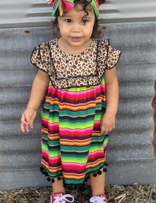 Girls Serape Leopard Pom Pom Dress