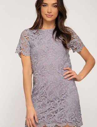 Lilac Lace Shift Dress