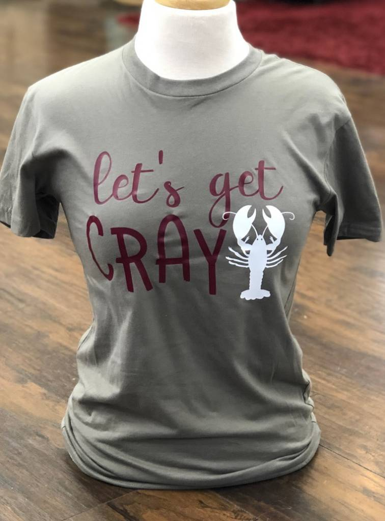 Back Road Beauties Let's Get Cray Olive Gray Tee