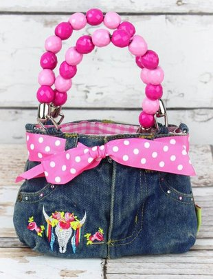 FREE SPIRIT STEER BABY DENIM JEANS BOX BAG WITH BEADED HANDLES