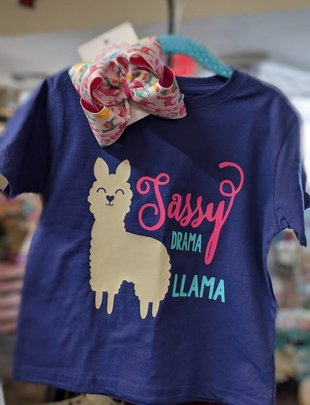 Back Road Beauties Girls Sassy Drama Llama Purple Tee