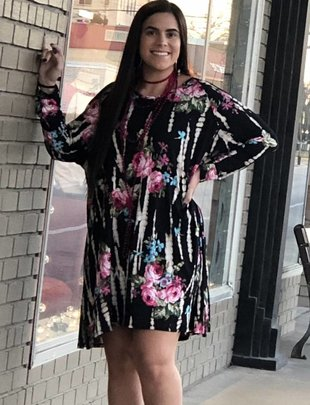 Black Multi Color Floral Tunic