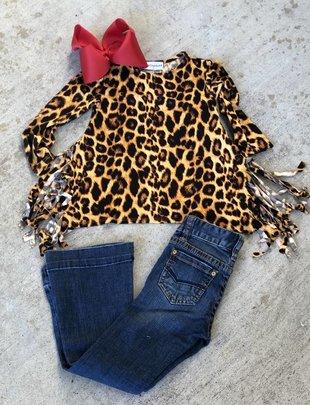 Girls Leopard Asymetrical Fringe Top