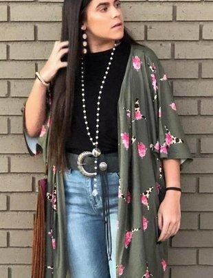 Olive Bull Print Kimono