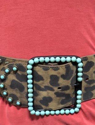 Leopard Turquoise Stone Wide Belt