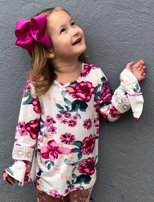 Girls Pink Floral Top