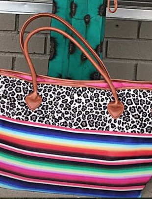 Leopard & Serape Color Block Tote Bag