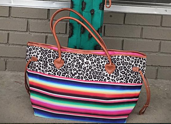 Leopard & Serape Color Block Tote Bag