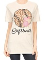 Oatmeal Floral Softball Mom Shirt