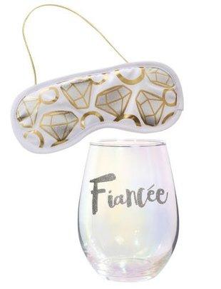 GIFT PACK FIANCEE GLASS W DIAMOND EYEMASK