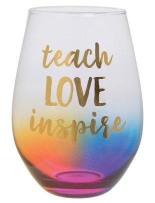 30OZ STEMLESS WINE TEACH LOVE INSPIRE