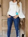 Ladies Floral Embroidered Boot Cut Jean