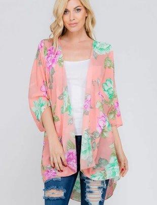 Lovely J Chiffon Floral Print Kimono