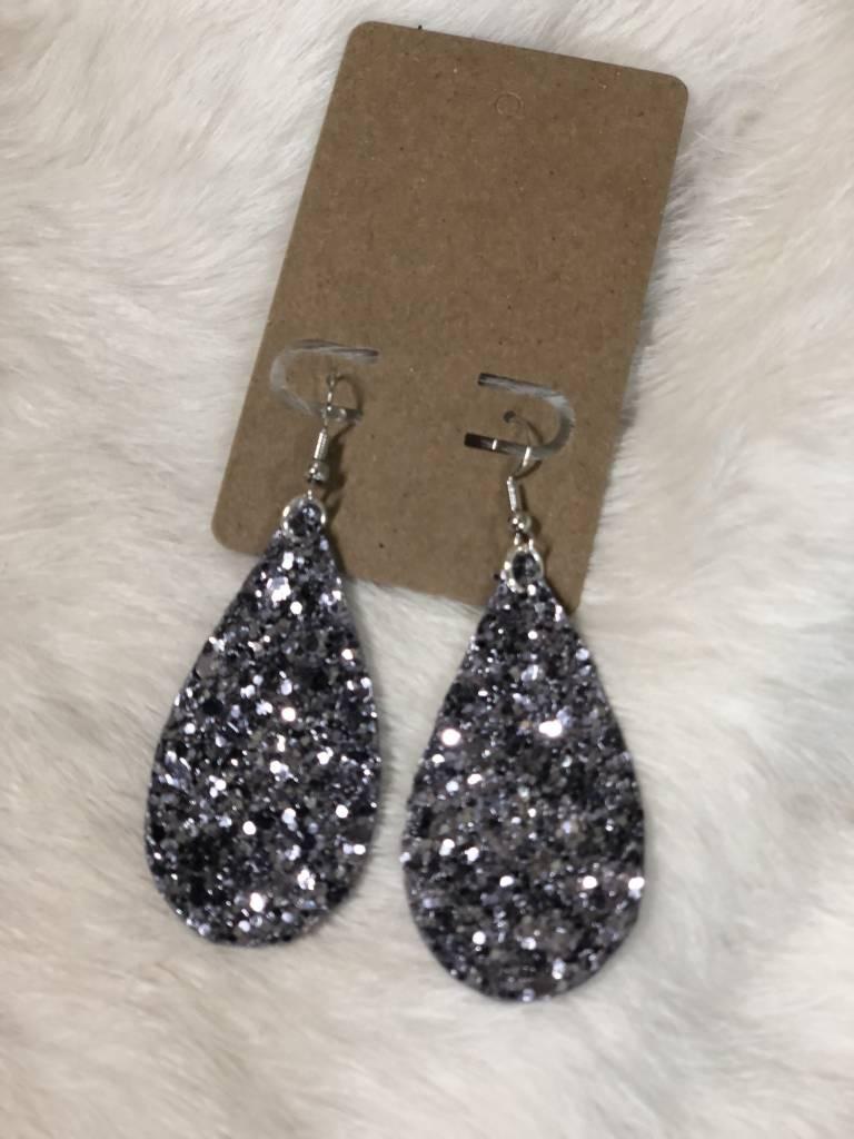 Glitter Long Teardrop Earrings, FR