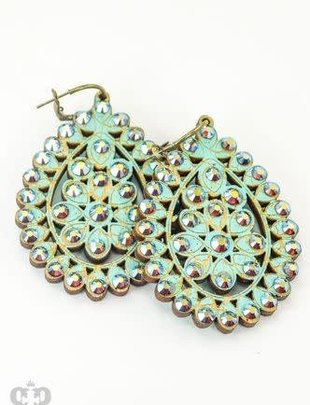 Pink Panache TURQUOISE crackle wood Santa Fe teardrop with ST/AB crystals on BRONZE mini hoops